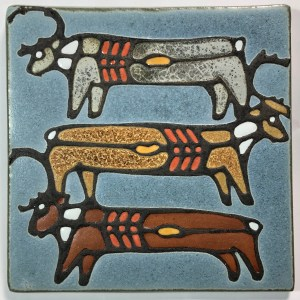 "6"" Three Caribou Art Tile"