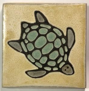 """4"""" Sea Turtle Art Tile"""