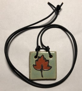 Leaf Pendant with Leather Lace