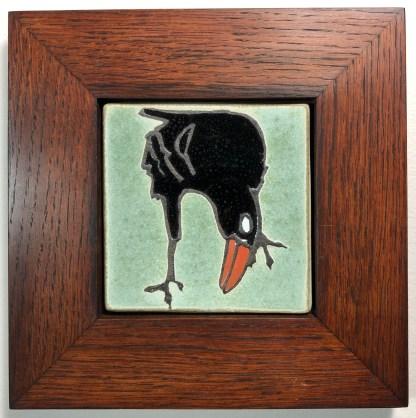 """4"""" Leaning Raven in Oak Frame"""