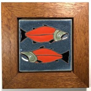 "6"" Salmon Tile in Oak Frame"