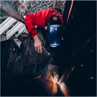 A welder working