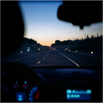 View from the dashboard of a car