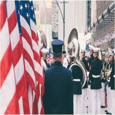 A militrary band performing in a parade