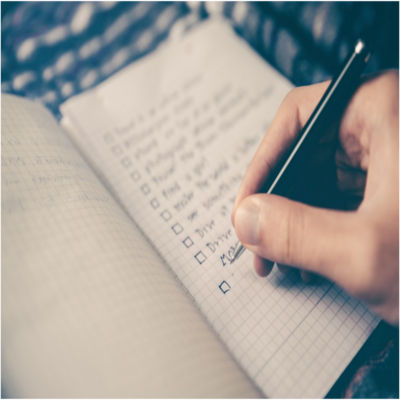 A person making a checklist