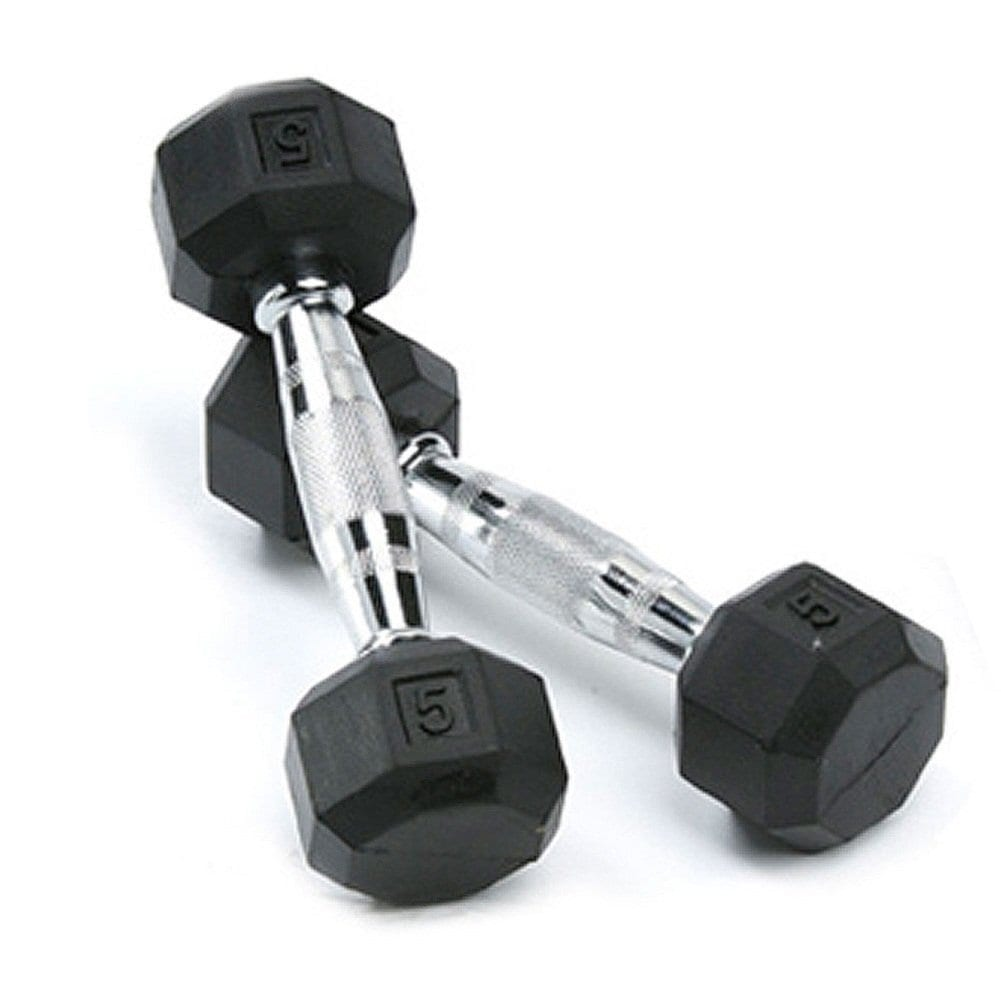 Deluxe Rubber Dumbbells – 5lb