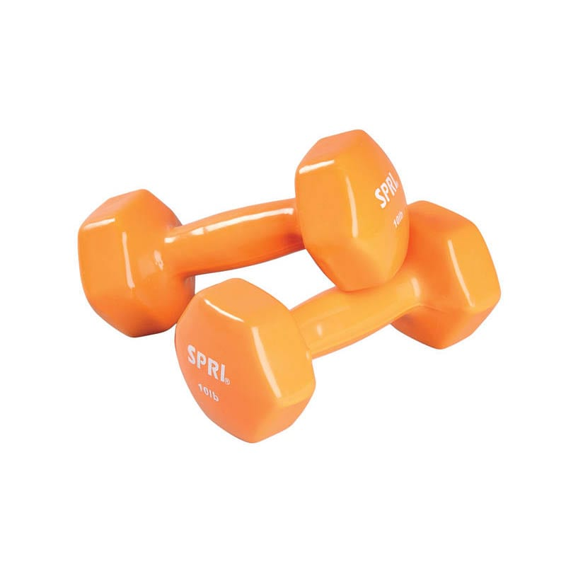 Deluxe Vinyl Dumbbells – 10lb Pair -orange