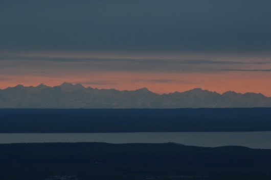 Sunset over Mt McKinley Foothills View from Flat Top Viewing Area