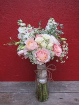 Bridal bouquet with blush garden roses, queen anne's lace, stock, lisianthus, eucalyptus, and spray roses   Wedding flowers designed by Natasha Price of Alaskaknitnat.com