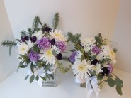 Winter Weddings: Purple carnations, white chrysanthemums, spruce sprigs and eucalyptus create a soft, festive look for any winter celebration | designed by Natasha Price of Alaskaknitnat.com