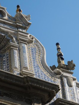 Detail of tile covered building