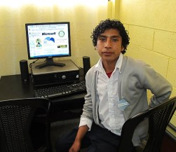 Student in computer lab built by GLP