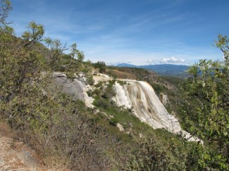 View of cascades from trail to falls