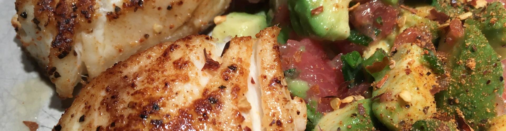 Pan-seared halibut with grapefruit avocado salsa