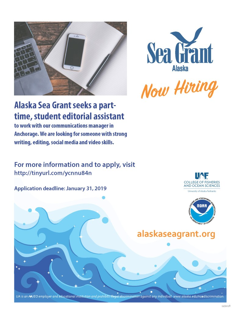 poster for Alaska Sea Grant student editorial assistant position