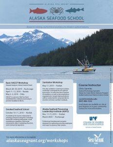 Poster highlighting Alaska Seafood School classes and workshops