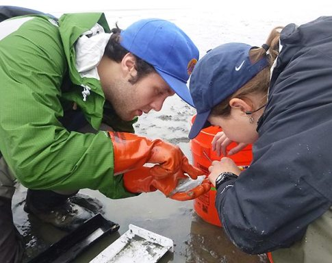 young man and woman researchers closely examining a small fish