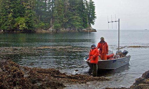 two scientists in small boat near shore