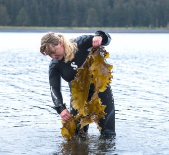 Lexa Meyer in the water holding kelp