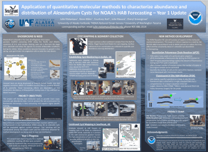 Thumbnail of scientific poster concerning application of quantitative molecular methods used to characterize abundance and distribution of alexandrium cysts for NOAA's HAB forecasting - year 1