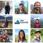 Photo collage showing 8 portraits and a logo with the words Alaska Sea Grant State Fellows