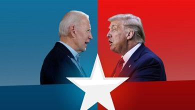 صورة ترامب وبايدن كلاهما من عبيد الدولار واسرائيل