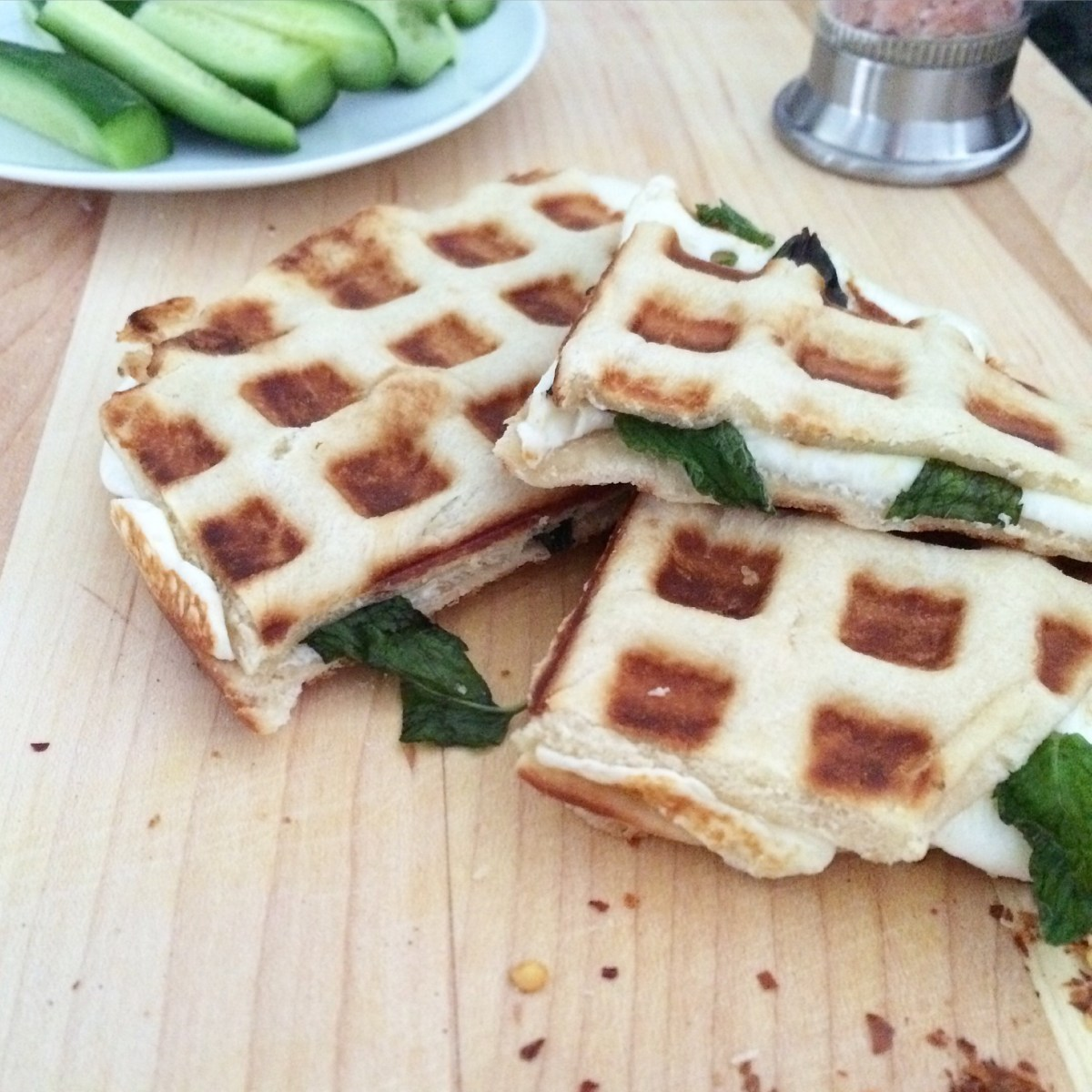 Waffled Akkawi & Mint Grilled Cheese