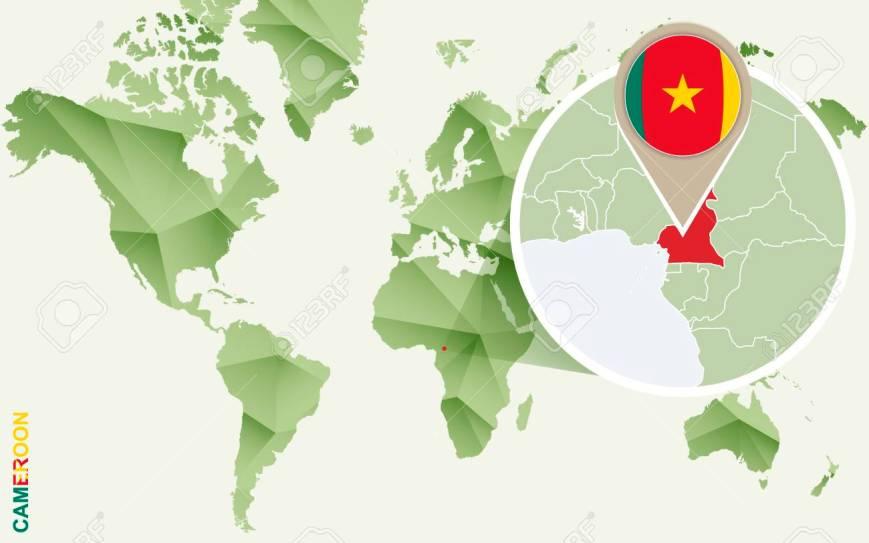 Camerún resaltado en un mapa mundi