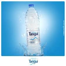 Foto de una botella de agua Tangui, la más común en Camerún