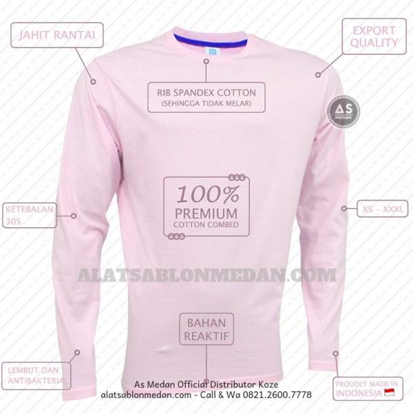 kaos polos lengan panjang soft pink | Kaos koze medan