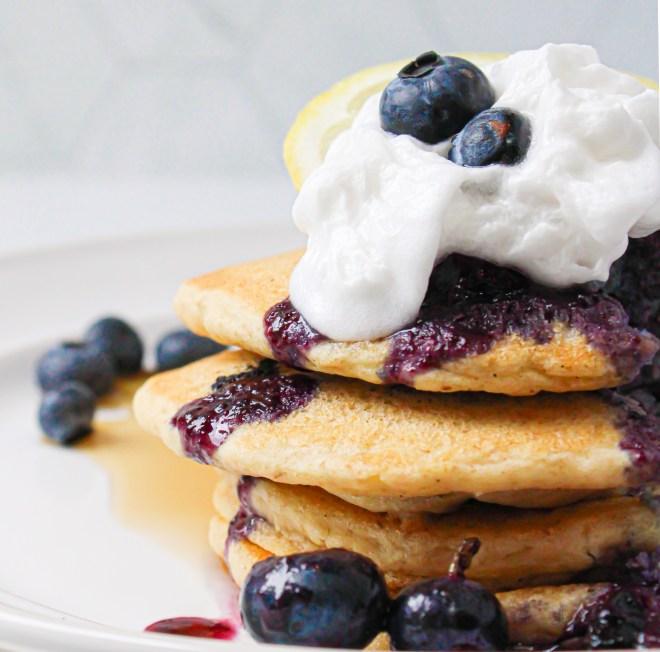 Blueberry Fluffy Gluten-Free Multigrain Pancakes