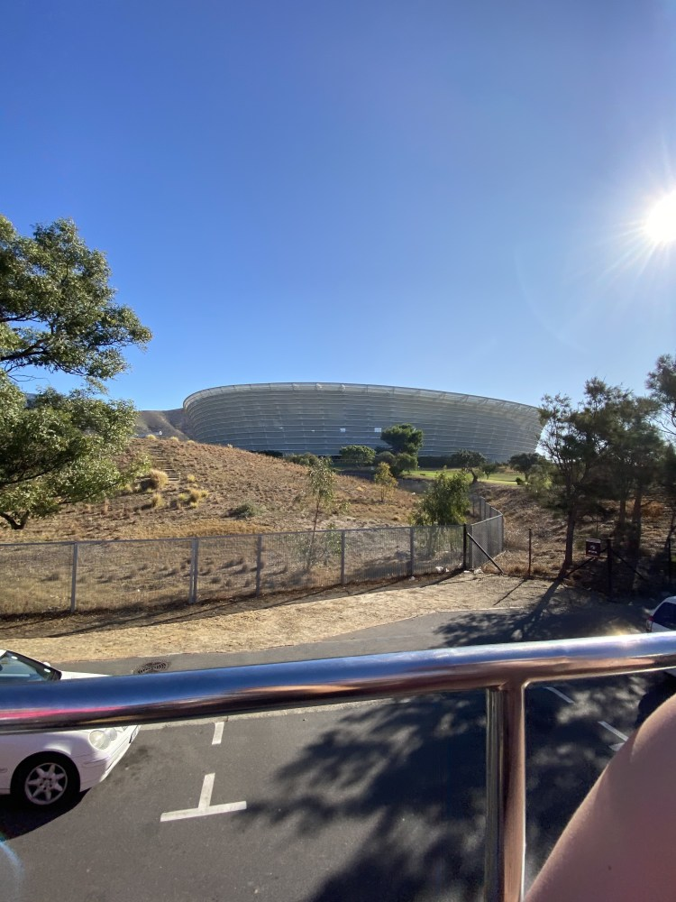 Picture of football stadium from CitySightseeing bus