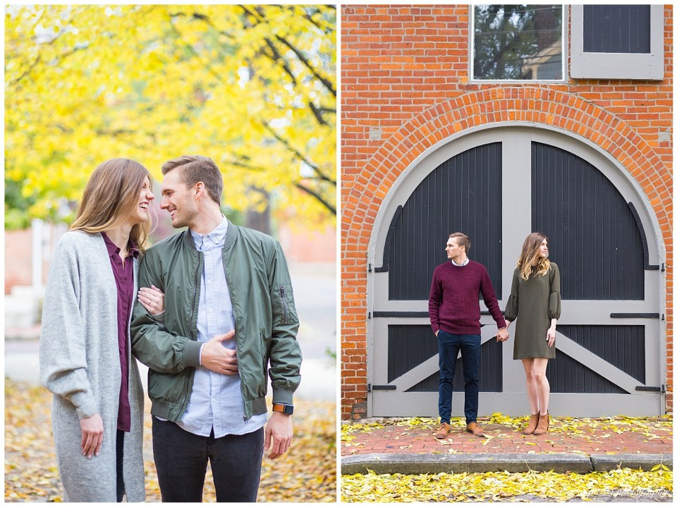 A picture of an engaged couple holding each other close and smiling, and a view of them holding hands as they stand on a brick sidewalk in front of vintage carriage doors in German Village, a historic neighborhood in Columbus by Alayna Parker  - Columbus Ohio engagement photographers