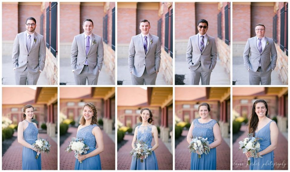 A picture of each member of the bridal party separately, smiling in their beautiful wedding outfits at Station 67  by Alayna Parker Photography  - Columbus  wedding photographers