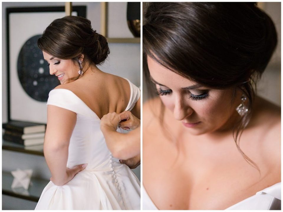 A picture of the bride's dress being buttoned by her mother, and a closeup of the bride in a quiet moment with her hair and makeup looking perfect just before the wedding ceremony at a Hotel LeVeque wedding by Alayna Parker Photography  - Columbus  wedding photographers