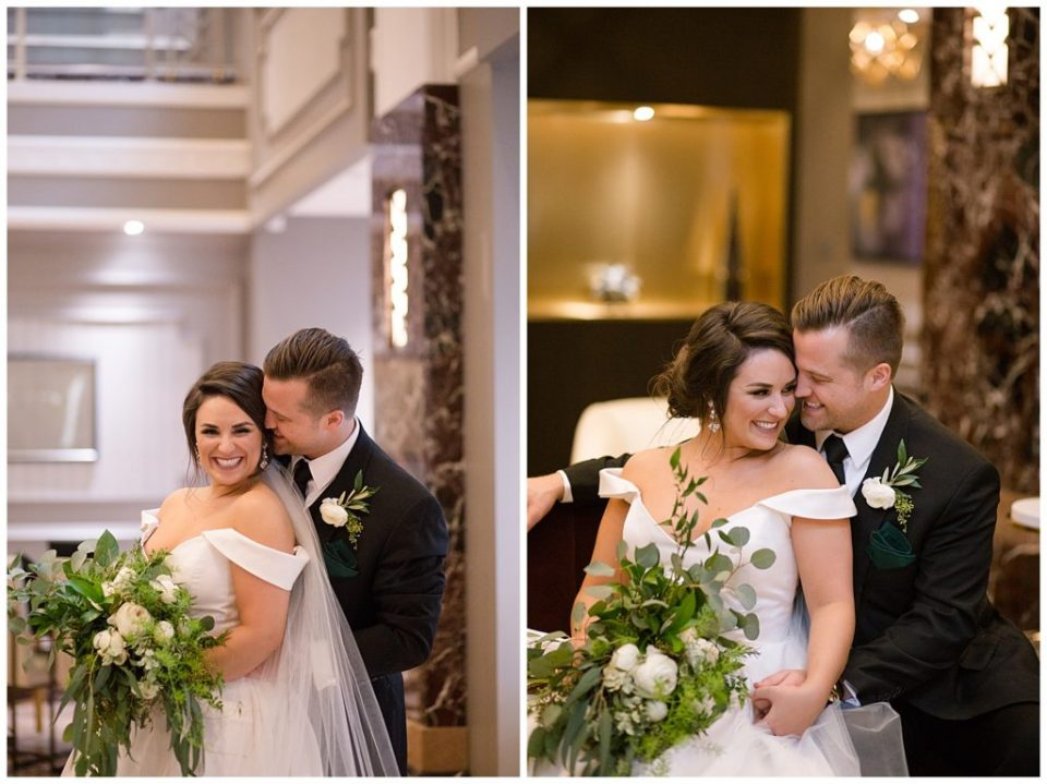 An image of the groom holding his bride from behind as they snuggle and smile, and a view of them cuddling together as they relax after they wedding at the Hotel LeVeque wedding venue by Alayna Parker  - Columbus Ohio marriage photographer