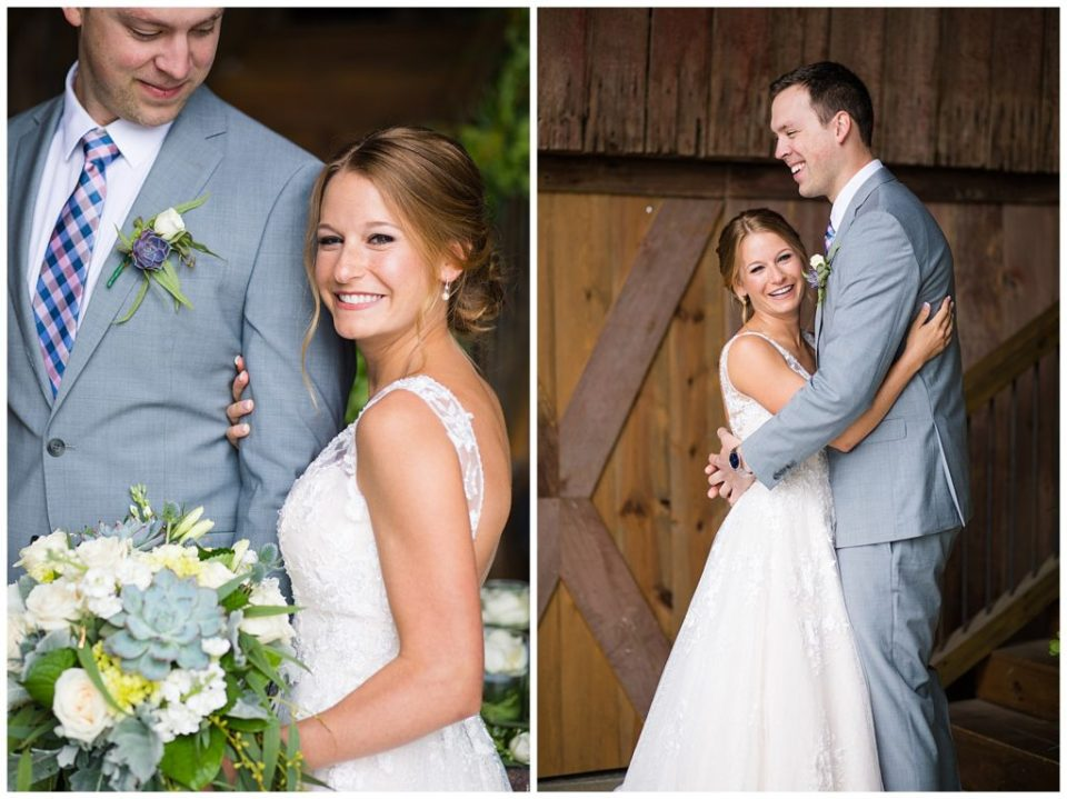 A picture of a bride and groom standing close and smiling after the wedding, and a view of them hugging each other in a rustic barn setting at the Buckeye Barn in Piqua Ohio by Alayna Parker  - Columbus  wedding images