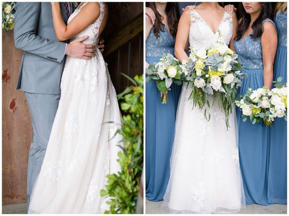 An image of a closeup view of the bride and groom holding each other at the waist, showing the bride's beautiful dress, and a closeup view of the bouquets of the bride and her bridesmaids at the Buckeye Barn in Piqua Ohio by Alayna Parker  - Columbus Ohio wedding photography