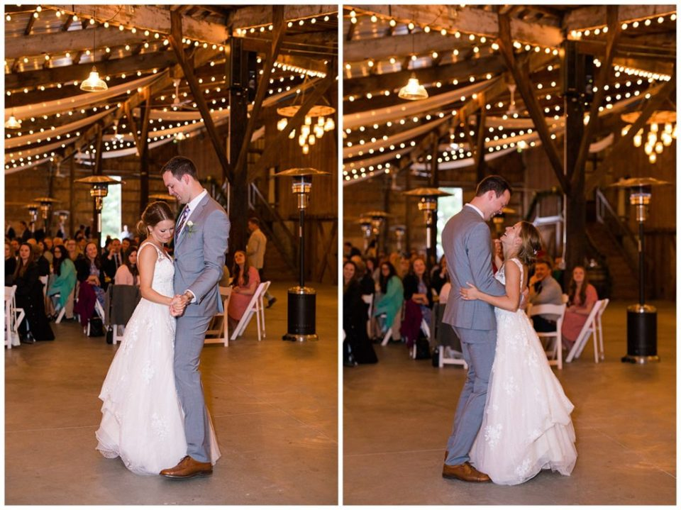 A photograph of a bride and groom dancing close during their first dance at the wedding reception, and a view of them smiling as they dance together at the Buckeye Barn by Alayna Parker Photography  - Columbus OH marriage photography