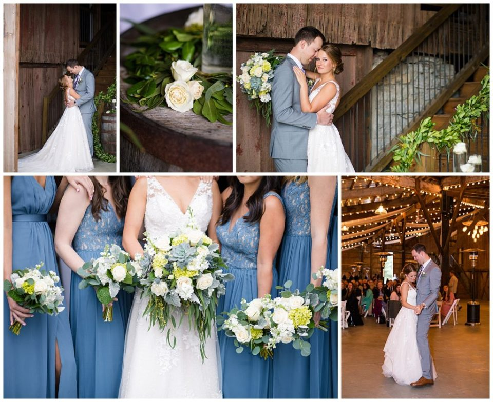 Blue and white barn wedding