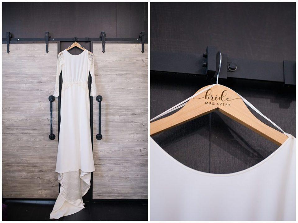 hand lettered hanger for bridal gown