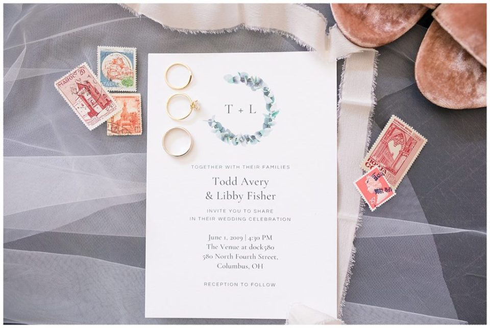 wedding invitation with watercolor eucalyptus wreath