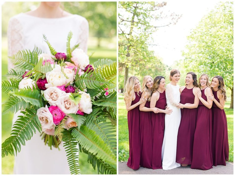 An image of a beautiful bride's bouquet with roses and ferns, and a view of a bride smiling with her bridesmaids lined up beside her at Dock 580 by Alayna Parker Photography  - Columbus Ohio wedding photographer