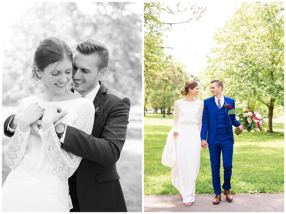 An image in black and white of a bride and groom smiling as they embrace, and a view of them walking hand in hand, smiling at each other at Dock 580 wedding venue  by Alayna Parker  - Columbus Ohio wedding photography