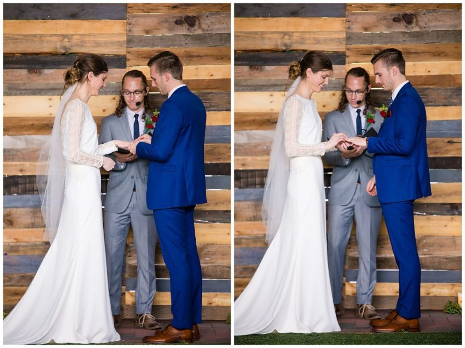 bride and groom exchanging rings at dock 580