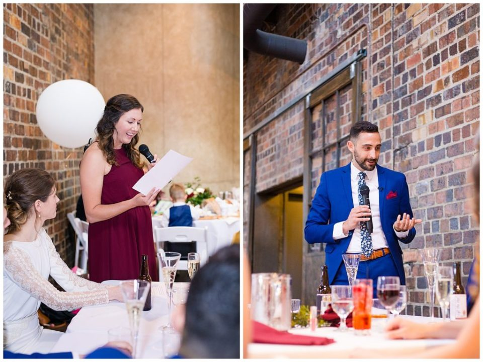maid of honor and best man giving speeches