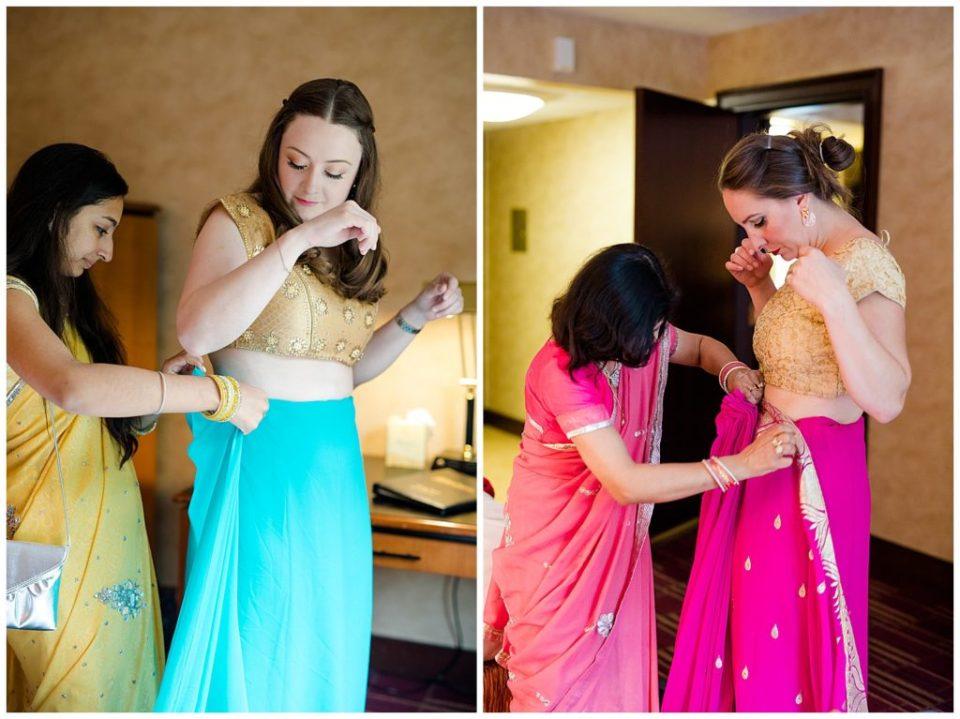 girls getting dressed in saree