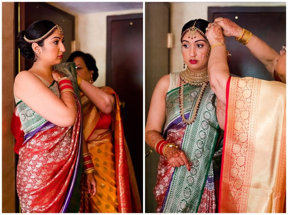bride getting dressed in saree