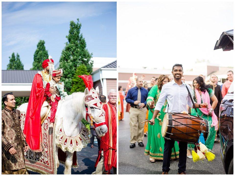groom riding white horse for baraat at bertram inn