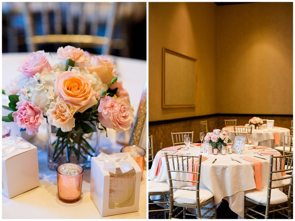 white pink and peach floral centerpieces at bertram inn
